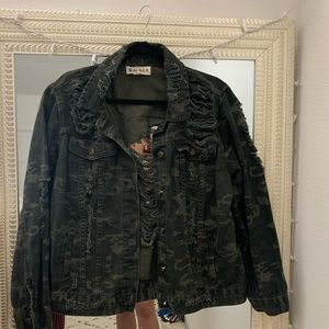 Oversized Distressed Green Camo Jacket